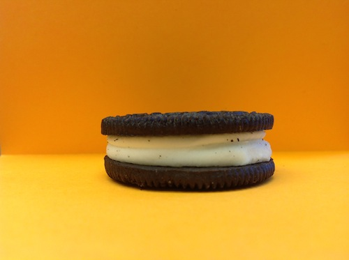 Close up of a Mega-Stuf Oreo.