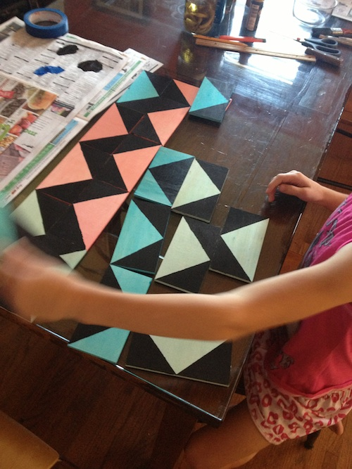 Tabitha making a zig-zag pattern with the math blocks