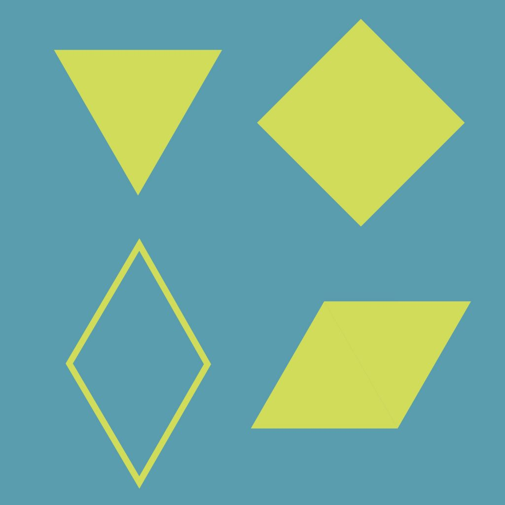 Four shapes in a 2x2 grid. Clockwise from upper left: a filled equilateral triangle standing on a vertex, a filled square standing on a vertex, a filled rhombus lying on a side, and an unfilled rhombus standing on a vertex.