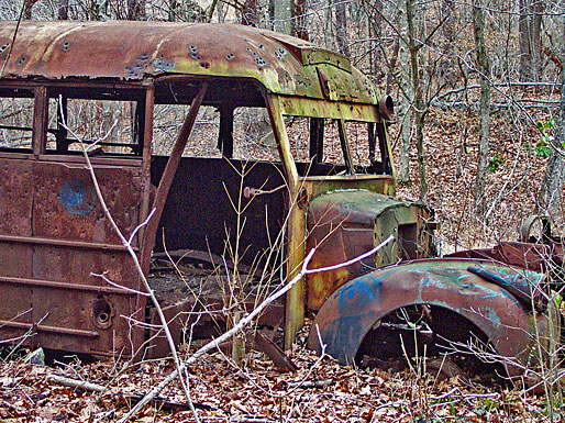 old rusty bus in the woods